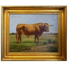 Pair of Paintings of Spanish Bulls