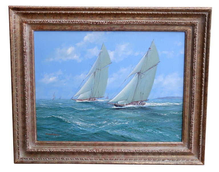 MICHAEL J. WHITEHAND (b.1941) 'J-Class Racing off of Cowes', signed lower left, oil on canvas, 21