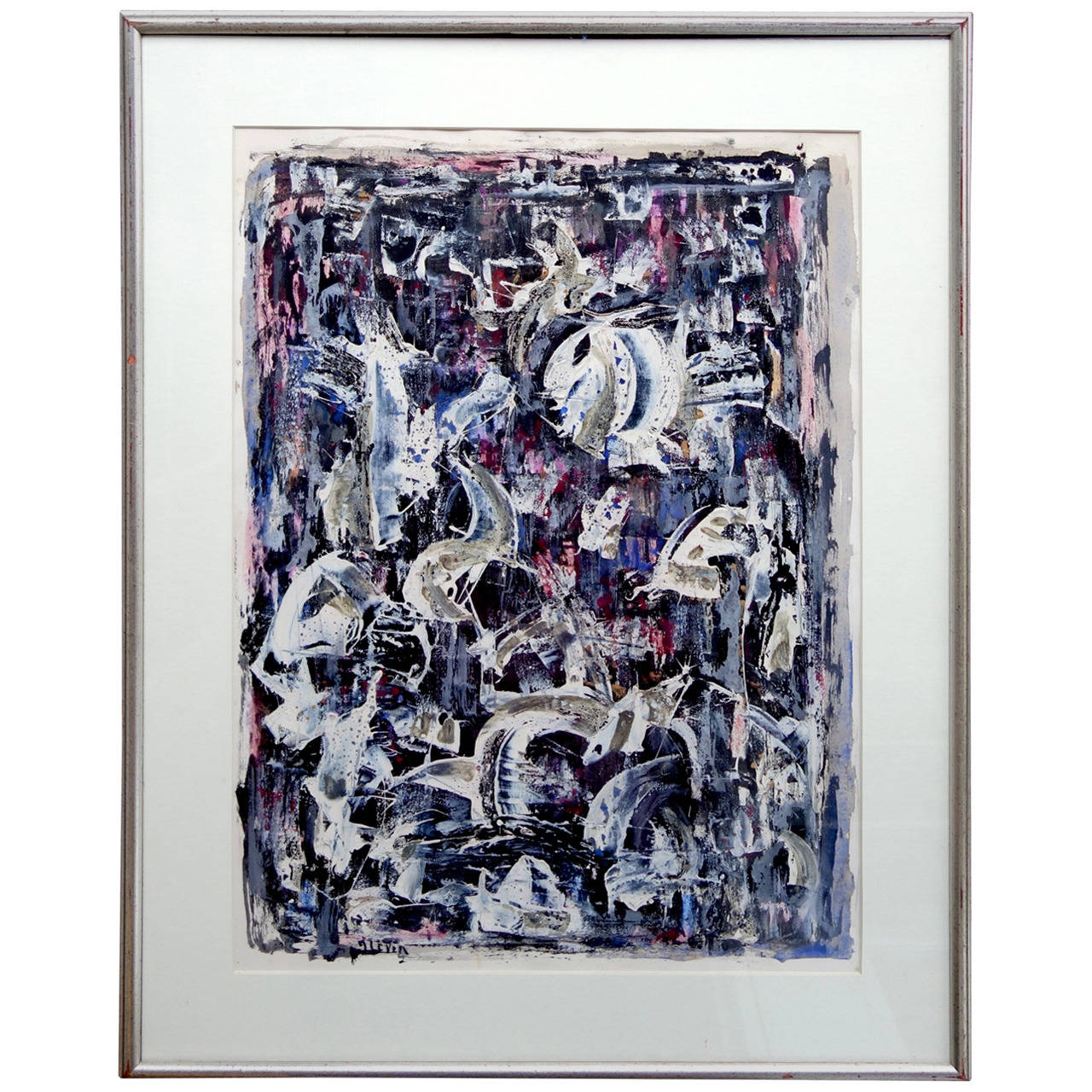 Abstract Gouache Painting by Joseph Levin