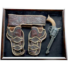 Leather Tooled Holster and Prop Gun in Shadow Box