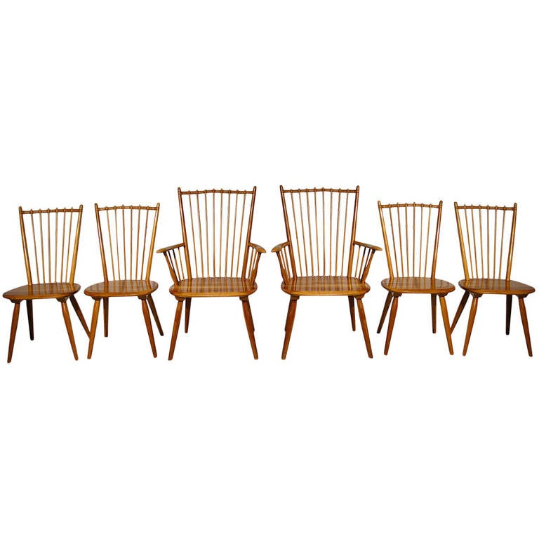 set of 6 1950s albert haberer cherry wood dining room chairs at
