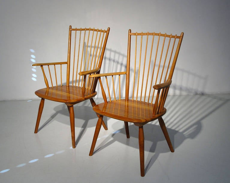 Set Of 6 1950s Albert Haberer Cherry Wood Dining Room Chairs At 1stdibs