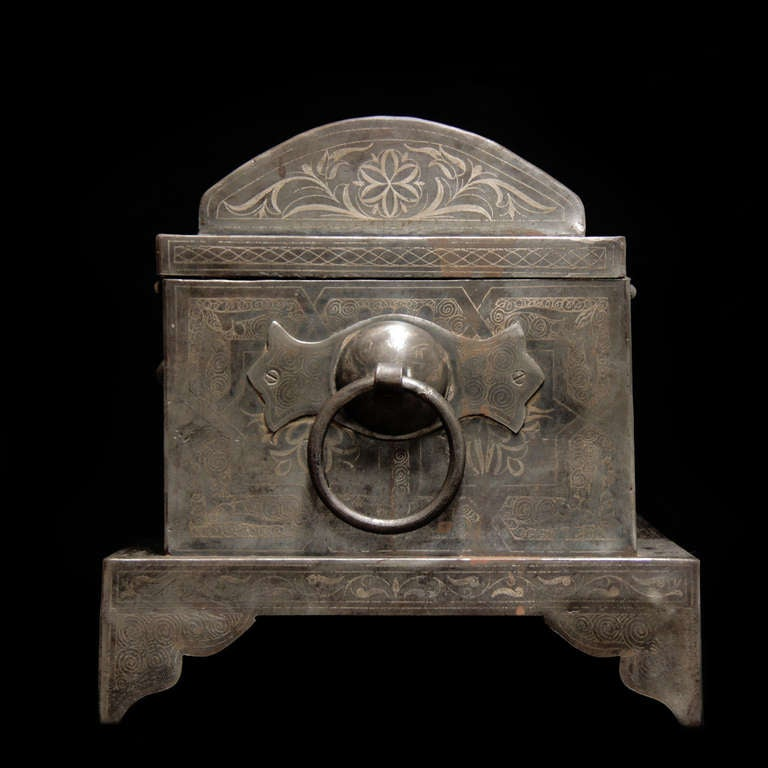 Wonderful 19th Century Iron Suitcase with Silver Marquetry 4