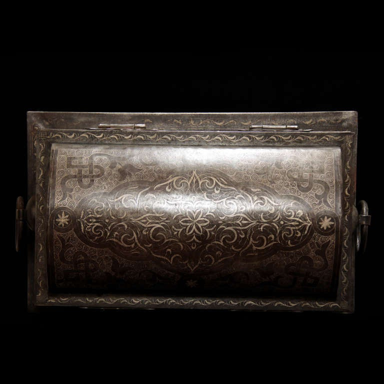 Wonderful 19th Century Iron Suitcase with Silver Marquetry 6