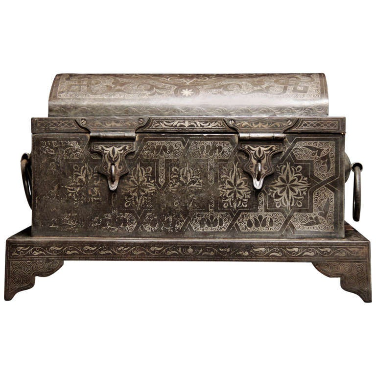 Wonderful 19th Century Iron Suitcase with Silver Marquetry 1