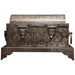 Wonderful 19th Century Iron casket with Silver Marquetry