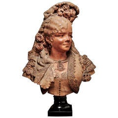 19th Century french Female Terracotta Bust by A.Maubach
