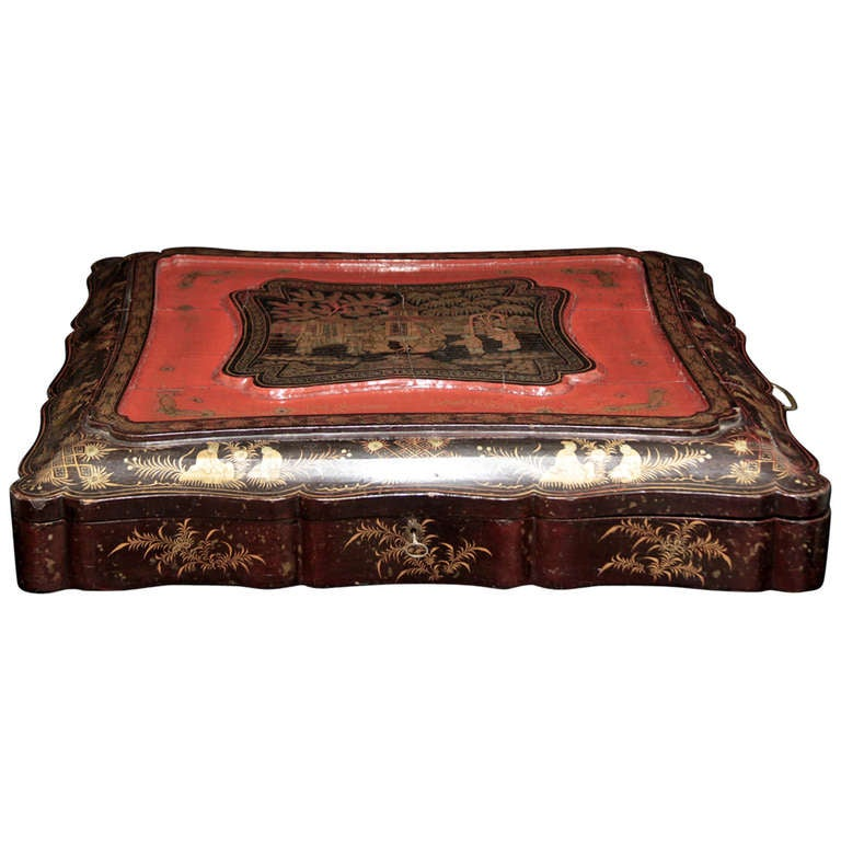 19th Century English Documents Case, chinese laque For Sale