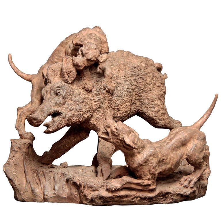 19th Century french Terracotta Group of Wild Boar and Two Dogs