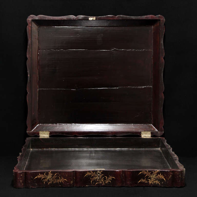 19th Century English Documents Case, chinese laque In Good Condition For Sale In Esbeek, NL