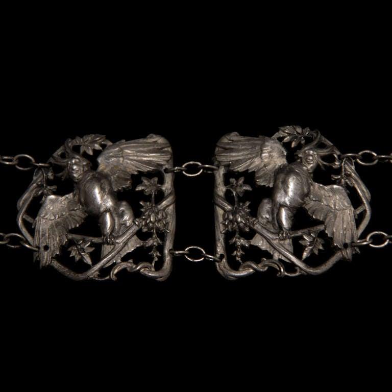 Jugendstil french art nouveau Silver Buckle Belt with Parrots and Birds, circa 1900 For Sale