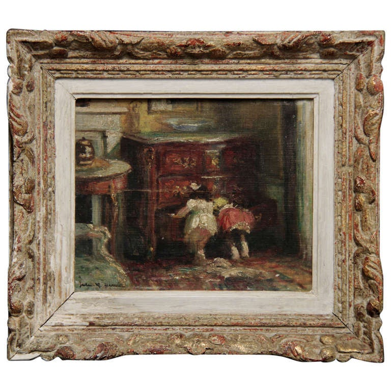 20th c.french Painting of two children looking in commode by Jules R. Herve