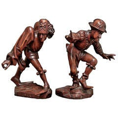 20th Century Pair of Wooden Figures (Jesters)