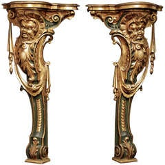 A pair of  18th Century Italian Wall Consoles