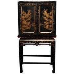 Important 18th C. English Cabinet With Chinese Laque