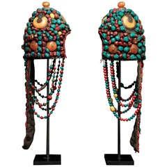 Pair of Wonderful 19th Century Tibetan Beaded Head Pieces