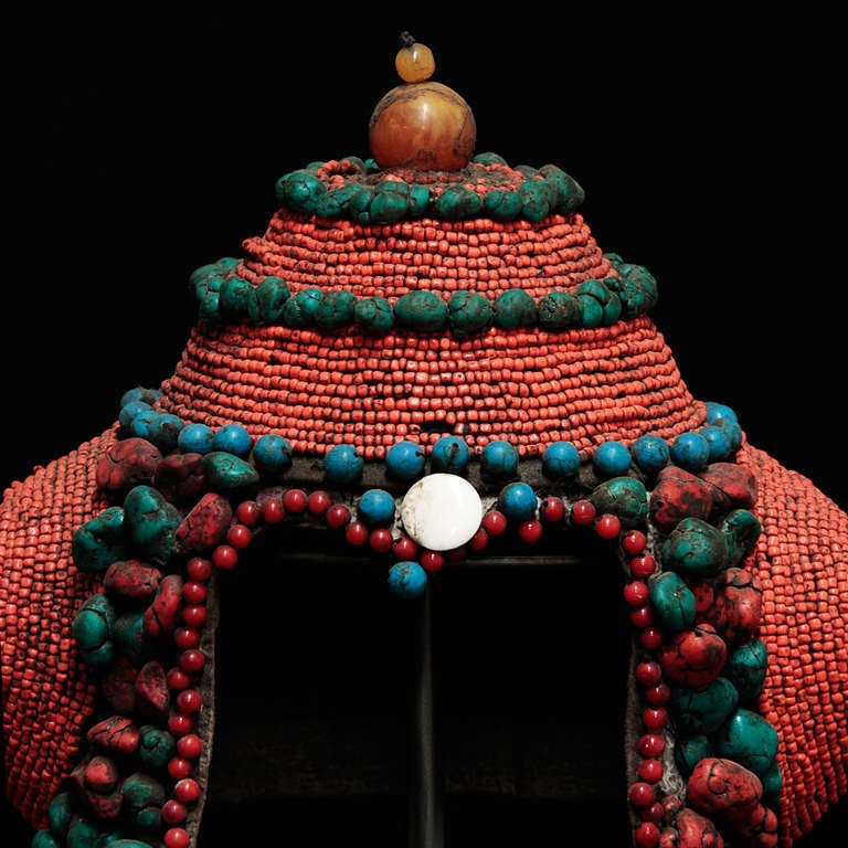 Wonderful 19th Century Tibetan Beaded Head Piece For Sale 1