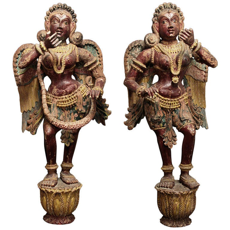 Pair of Wooden Indian Angels circa 1800