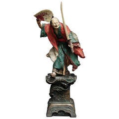 "19th Century  Stuco Figure of Japanese Samurai with Sable and Fan, Signed ""Jack Bradl Munchen 1890"""