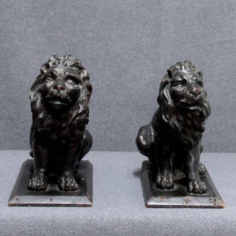 Wood 17th C. pair of Italian wooden Lions For Sale