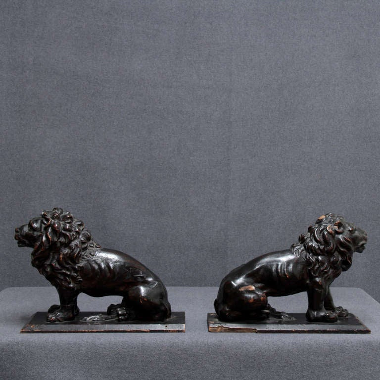 18th Century and Earlier 17th C. pair of Italian wooden Lions For Sale