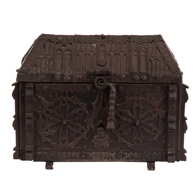 French Gothic Revival Wrought Iron Casket Circa 1850