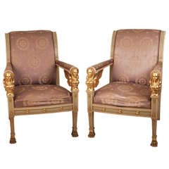 Pair Of Italian Empire Armchairs  Circa 1820