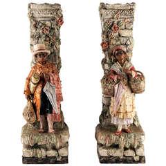 Pair Of Italian Faience (Majolica) Vases Circa 1880