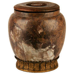 A French Renaissance 17th Century Marble Jar With Wooden Lid.