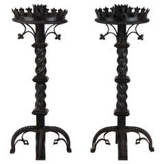 Pair of French Gothic Revival Wrought Iron Candlesticks circa 1850