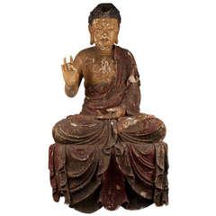 18th Century Large Wooden Buddha, China