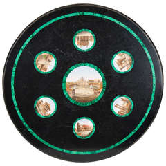 19th Century Marble Tabletop with 7 Portrayals in Micro Mosaic Rimmed in Malachite