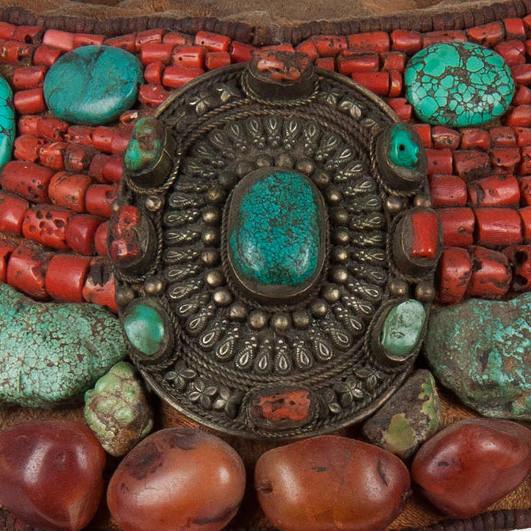Chinese 2nd part 19 th century Tibetan beaded cap  with semi-precious stones For Sale