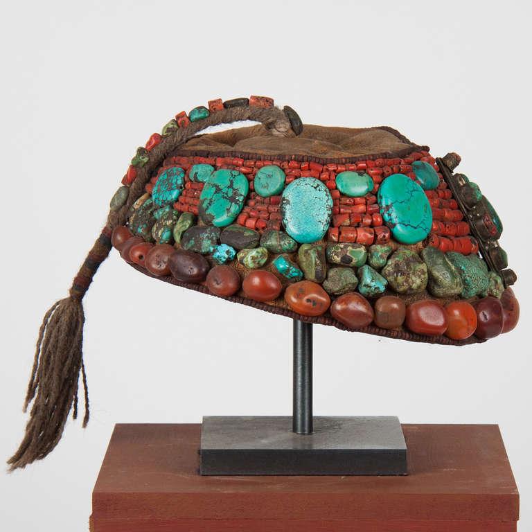 Precious Stone 2nd part 19 th century Tibetan beaded cap  with semi-precious stones For Sale