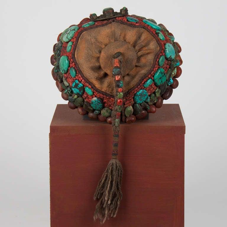 2nd part 19 th century Tibetan beaded cap  with semi-precious stones For Sale 1