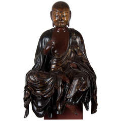 15th century important wooden Japanese statue