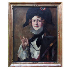 Woman Dressed like Napoleon, Painting Signed by Max Moreau, 1928