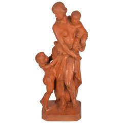 Terracotta Statue circa 1900 Signed by Alphonse I Van Beurden