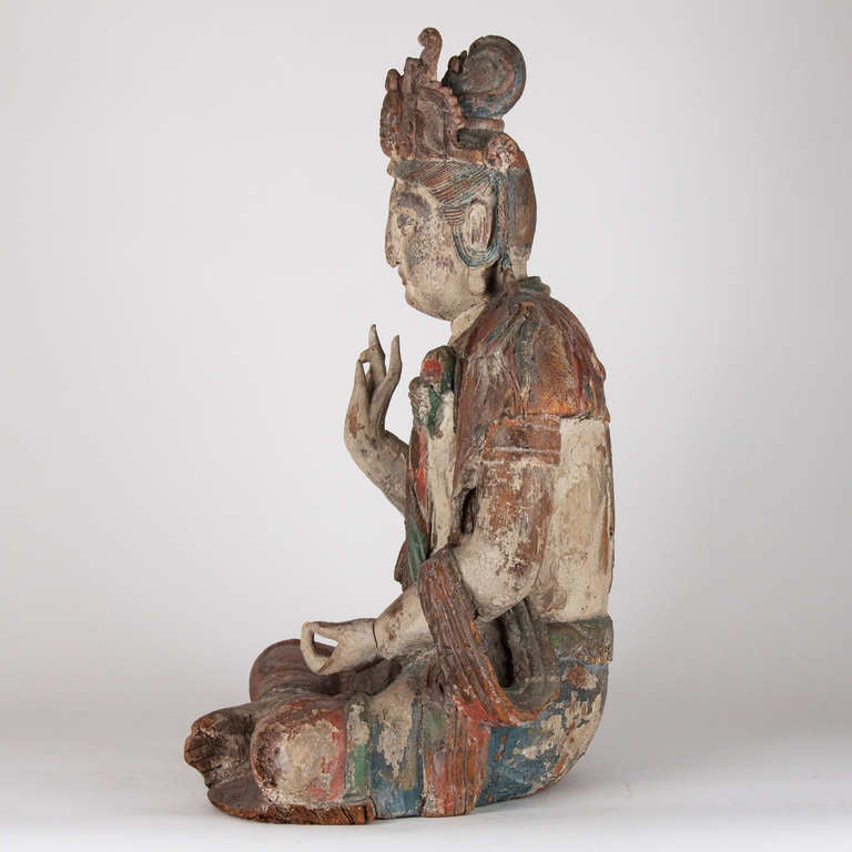 Chinese 18th Century Wooden Seated Buddha, China For Sale