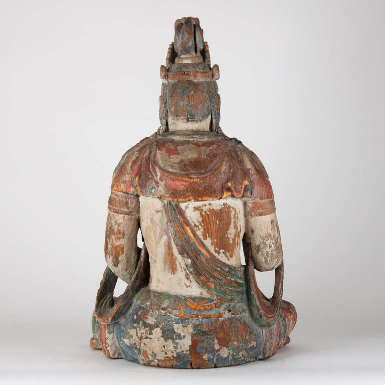 Carved 18th Century Wooden Seated Buddha, China For Sale