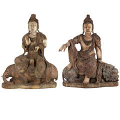 Pair of Beautiful 18th Century Wooden Seated Buddhas, China
