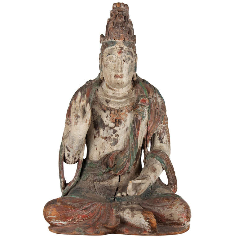18th Century Wooden Seated Buddha, China