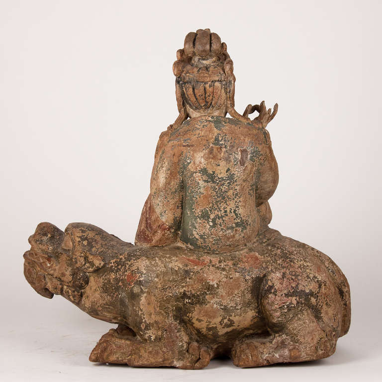 Polychromed 18th Century Wooden Seated Buddha, China For Sale