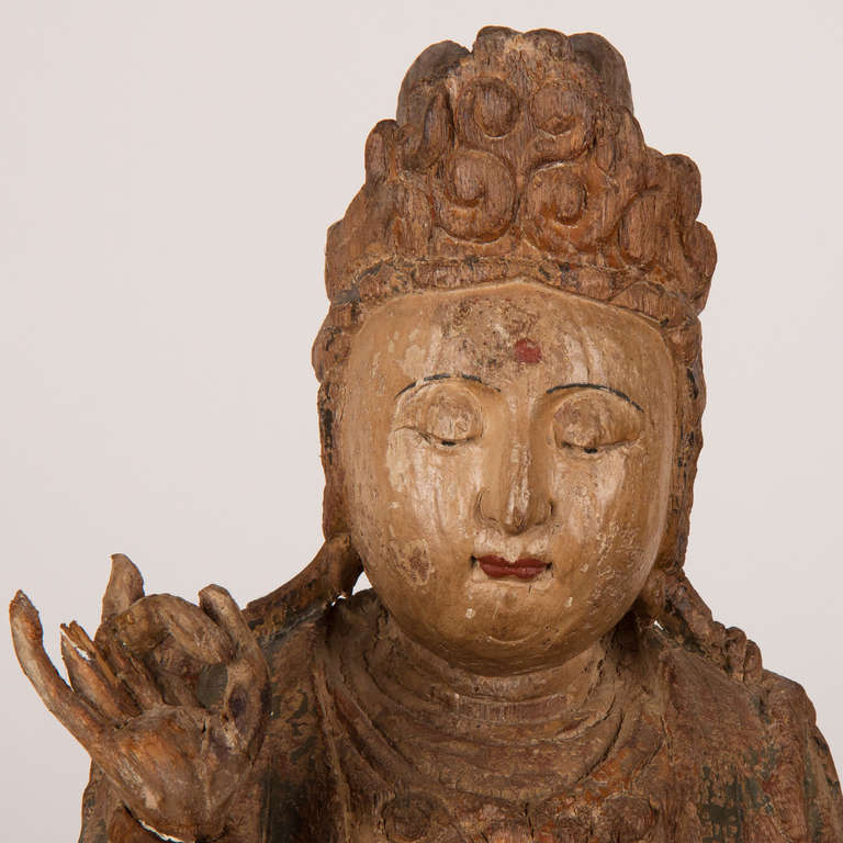 18th Century and Earlier 18th Century Wooden Seated Buddha, China For Sale