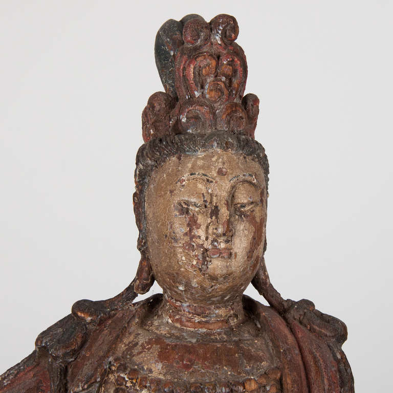 18th Century Wooden Seated Buddha,China In Good Condition For Sale In Esbeek, NL
