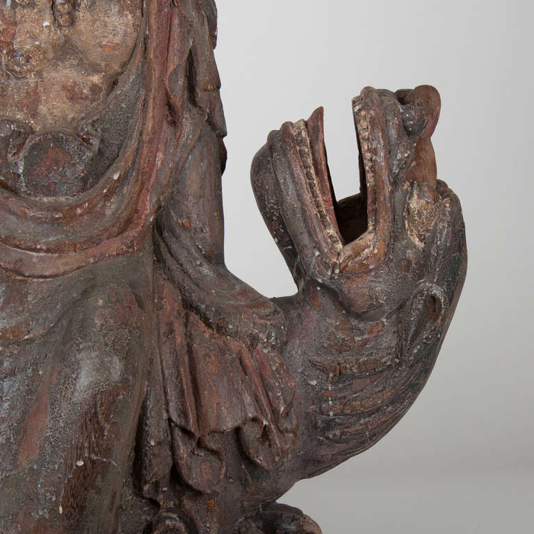 18th Century and Earlier 18th Century Wooden Seated Buddha,China For Sale