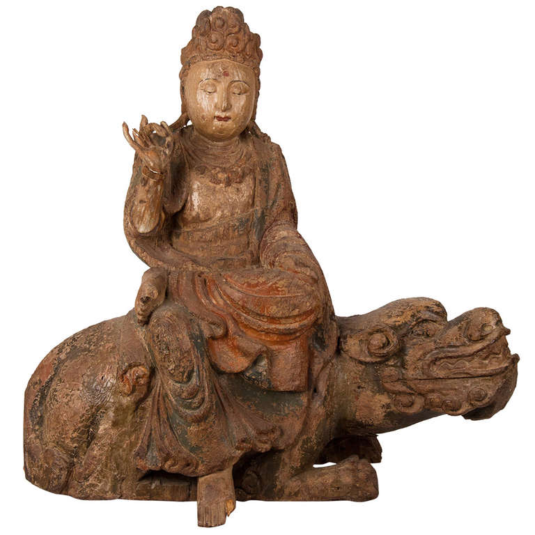 18th Century Wooden Seated Buddha, China For Sale