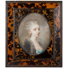 18th Century French Gouache (Pastel) in Antique Tortoise Frame