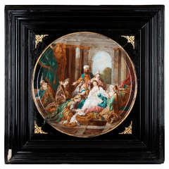 19th Century French Framed Porcelain Plaque, Signed by M. Boverate
