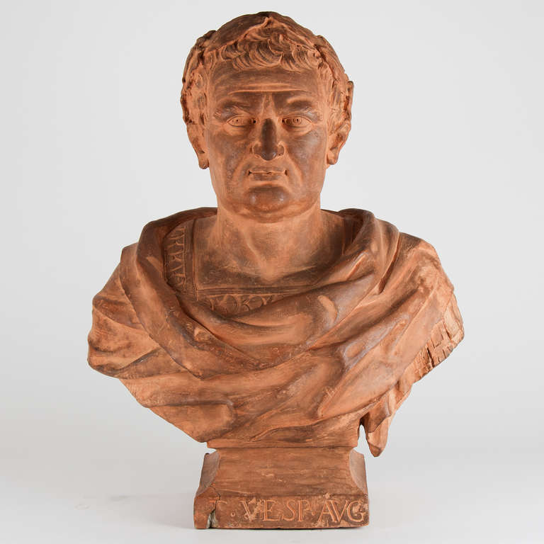 Terracotta Italian bust, depicting a Roman emperor. Good condition, wear consisted with age and use. 17th century.